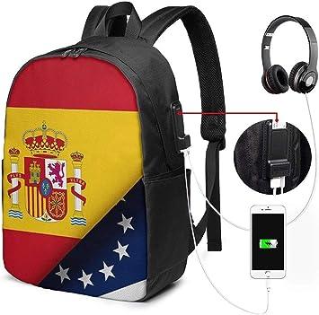 Mochila Unisex con Puerto de Carga USB Bandera de España y Betsy Ross-1 Classic Fashion General Business Bookbag: Amazon.es: Equipaje