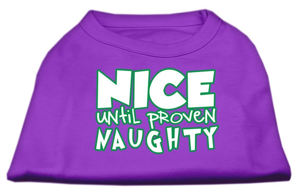 Mirage Pet Products 51-180 MDPR Nice Until Proven Naughty Screen Print Pet Shirt Purple, Medium