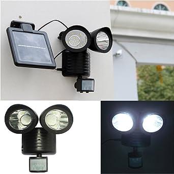Ipuis 22 Led Lampe Solaire Exterieur Detecteur De Mouvement Lampe De Jardin Eclairage De Securite A Double Tete Projecteur A Induction Pour