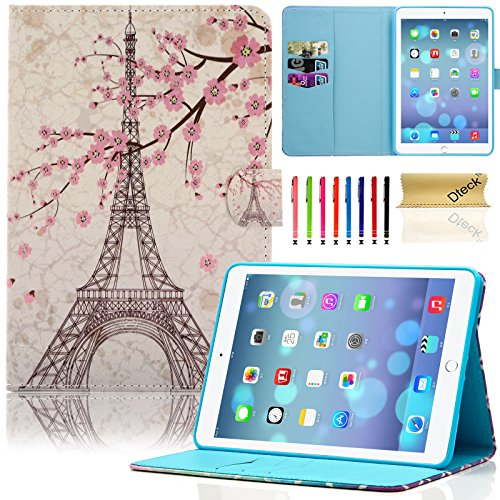 iPad Mini Case, Mini 2/3 Case, Dteck Slim Fit Folio Stand PU Leather Magnetic Wallet Case with Auto Wake/Sleep Feature Smart Cover for Apple iPad Mini 1/2/3, Pink Eiffel Tower (Eiffel Ipad Case Mini Tower 2)