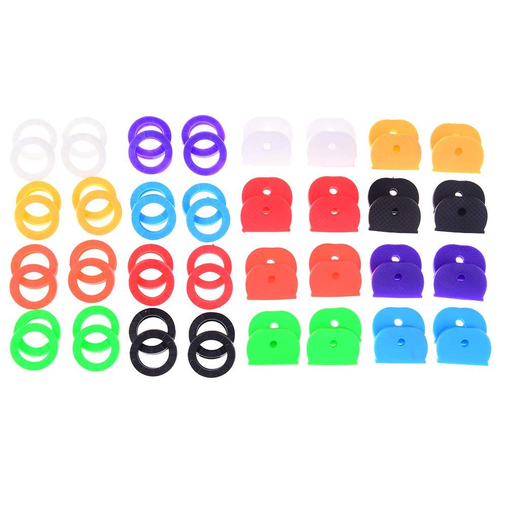 Diyiming 64 pcs Key Cap Key Identificateur Tag couvertures Bague é tiquettes en Caoutchouc Touches, 8 en Forme de Couleur, 2 8en Forme de Couleur yunyong