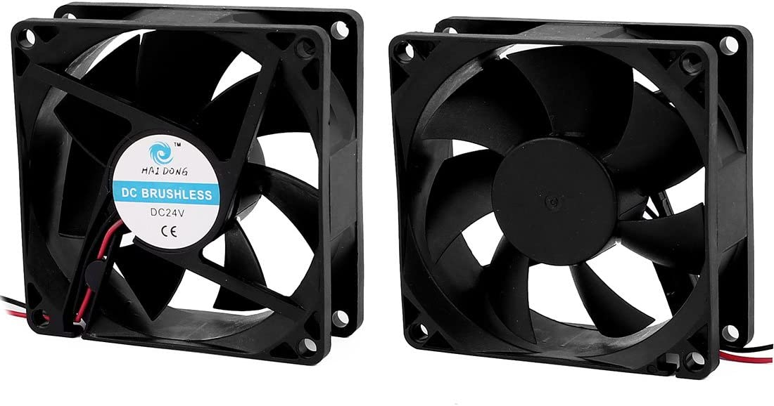 Aexit 2Pcs DC Electrical equipment 24V 0.12A 80mmx25mm 7 Vanes Cooling Fan for Computer Cases CPU Cooler Radiator