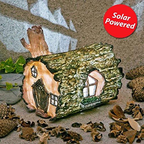 Ember Stardancer Fairy House Solar Power LED Light Patio Garden Log Ornament by Garden Glows