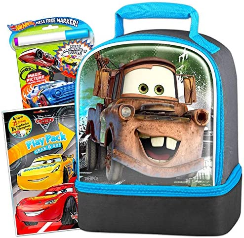 Disney Cars Lunch Box Travel Activity Set  Cars Lunch BagMess Free Coloring Book Stickers Fun Pack and More (Travel Activities for Boys Kids Toddlers)