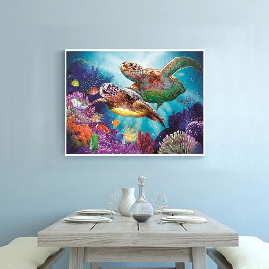 Vertily 12x12 Undersea Turtle 5D DIY Diamond Painting Kit Full Drill Full Square Rhinestone Embroidery Cross Stitch Arts Craft for Home Wall Decoration