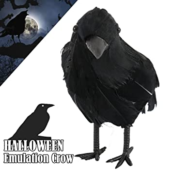 halloween props animated black feathered small crows 3 pc realistic handmade birds ravens decor fanny