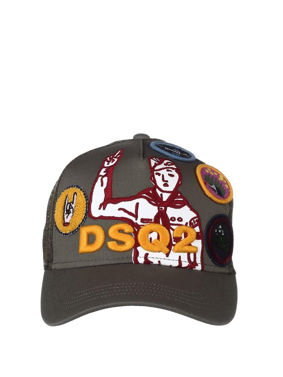 DSQUARED2 Men's Bcm0005135500018066 Green Cotton Hat