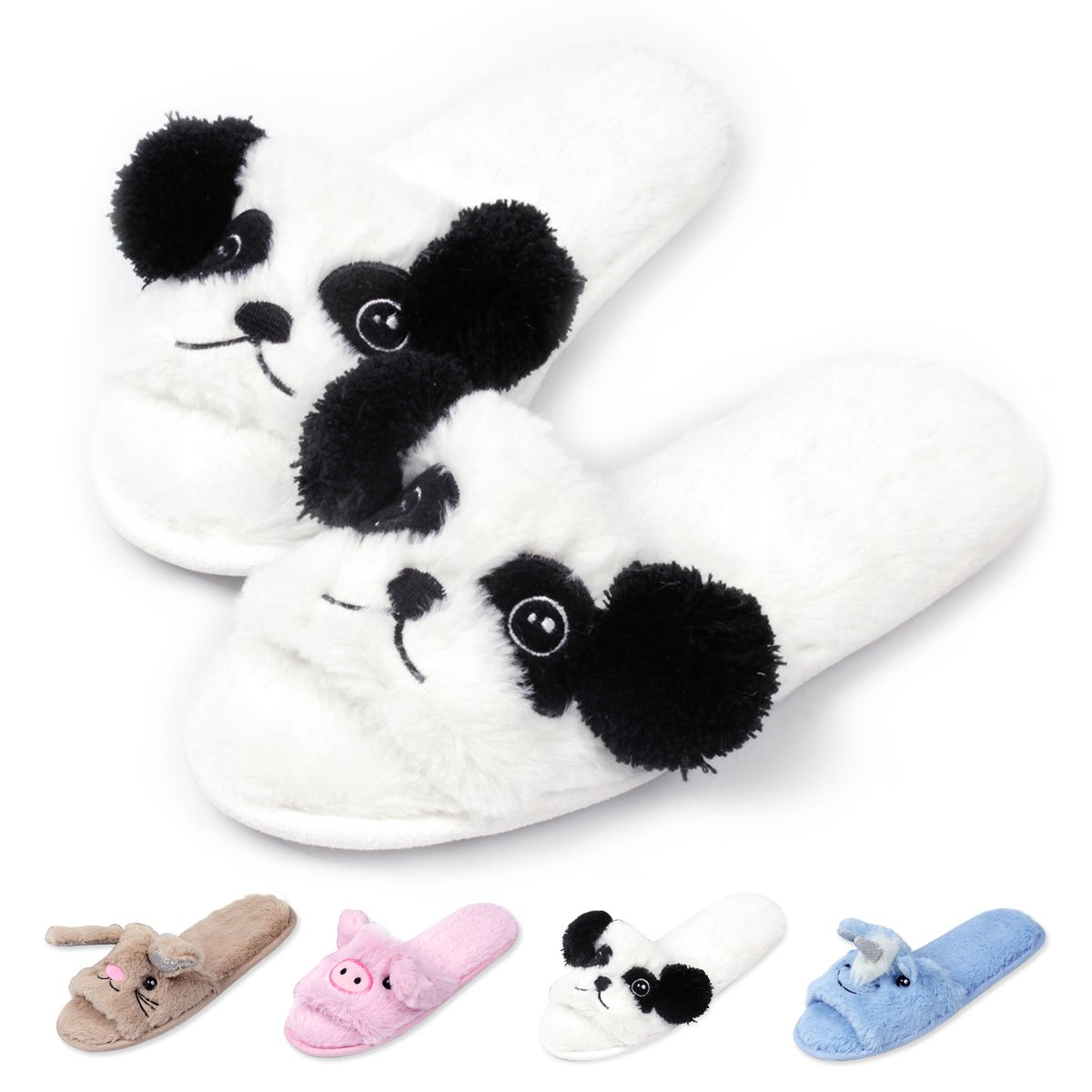 Womens Open Toe Slippers | Cute Bunny Unicorn Animal Slipper | Soft Fleece Memory Foam Clog | Anti-Slip Sole Indoor Outdoor Shoes | Flip Flop Spa Slippers (7-8, WhitePanda) by Caramella Bubble