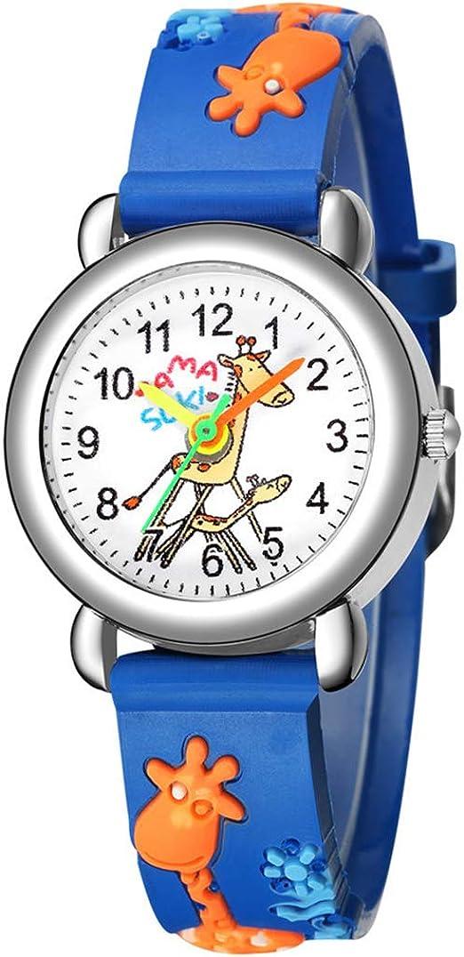 Amazon Com 3d Cartoon Watch Giraffe Kids Watch Children Girls Boys Students Quartz Wristwatches Blue Watches
