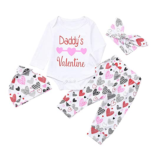 881ae09ba565 Amazon.com  First Valentine s Day Letter Romper+Love Heart Pants+Hat ...