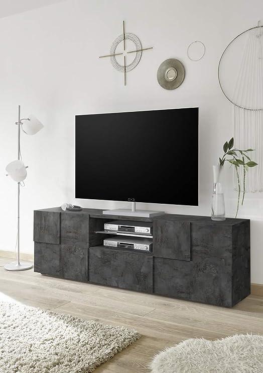 Arredocasagmb.it - Mueble para TV Moderno de Madera de OSSIDO con Acabado Industrial Gris Oscuro para salón Dame 02: Amazon.es: Hogar