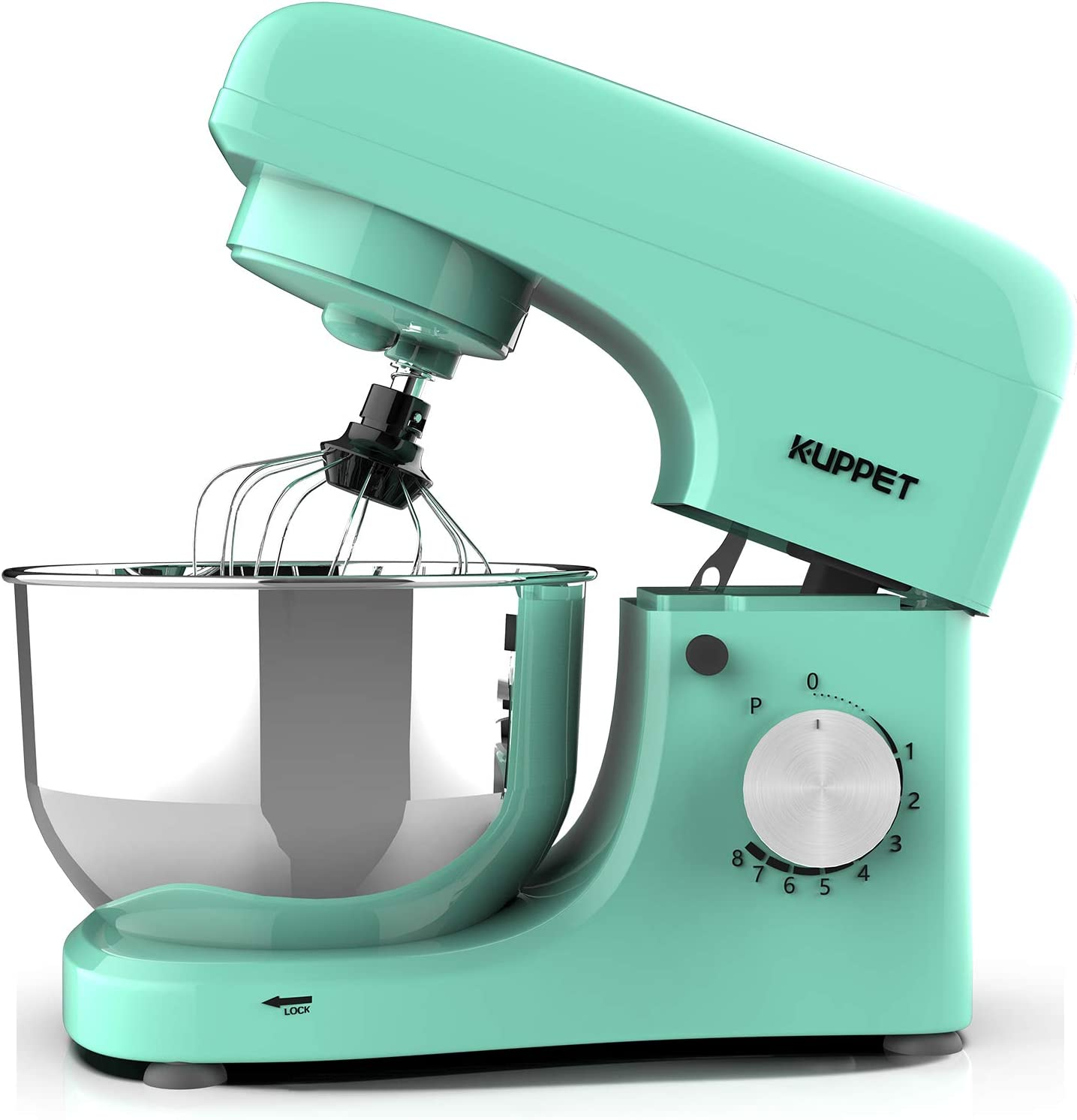 Kuppet Stand Mixers, 380W, 8-Speed Tilt-Head Electric Food Stand Mixer with Dough Hook, Wire Whip & Beater, Pouring Shield, 4.7QT Stainless Steel Bowl, Macaron green.