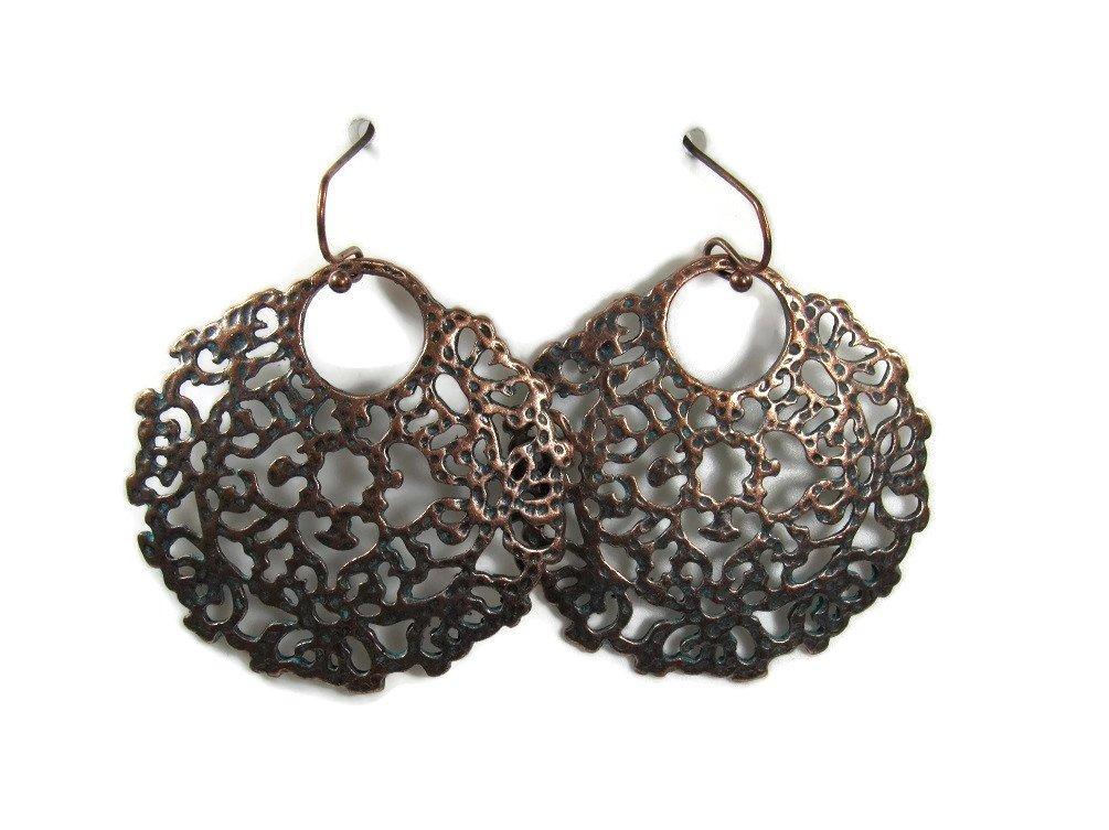 Dangle Fashion Filagree Metal Styles Statement Earrings Vintage Retro BOHO Patterns (Copper Filagree Medallion)