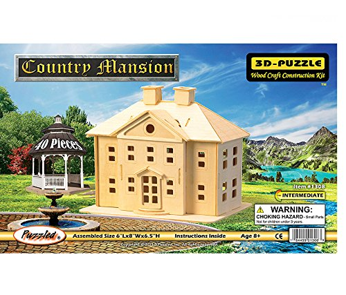Woodcraft Construction Kit 3D Puzzle-Country Mansion (Kit Woodcraft Construction)