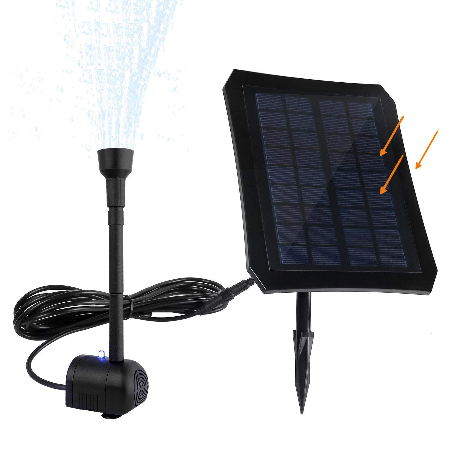 Solar Powered Water Fountain, Colourful LED Pump with Built-in Battery, Solar Panel with Ground Stake, Ideal Decoration Kit for Garden, Pond, Pool
