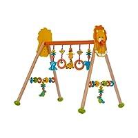 SOLINI Le portique d'éveil «Jungle» en bois, réglable en hauteur centre d'activités, multicolore/naturel