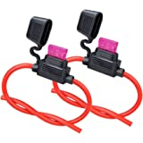 10ga Fuse Holder, 2 Pack MUYI Inline Fuse Holder 10 Gauge Fuse holders 12v Waterproof Pigtail Blade Fuse Relay with 40AMP ATC