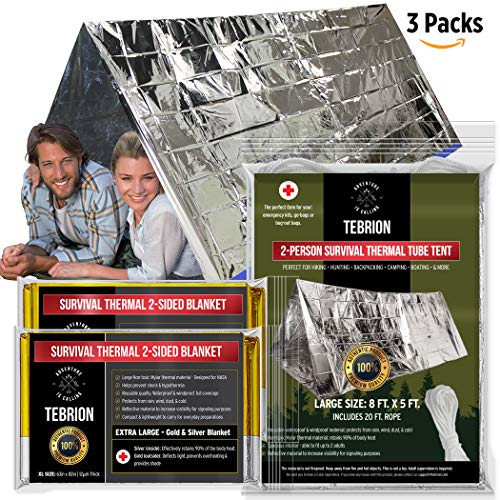 TEBRION Emergency 2-Adult Mylar Thermal Tent and 2 x Extra Large 63