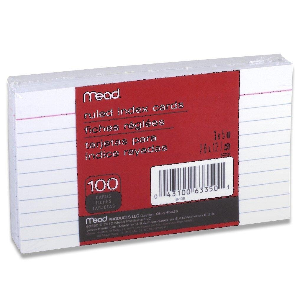 12 Pack of Mead 3 x 5-Inch Index Cards, Ruled, 100 Count, White (63350) = to 1,200 cards