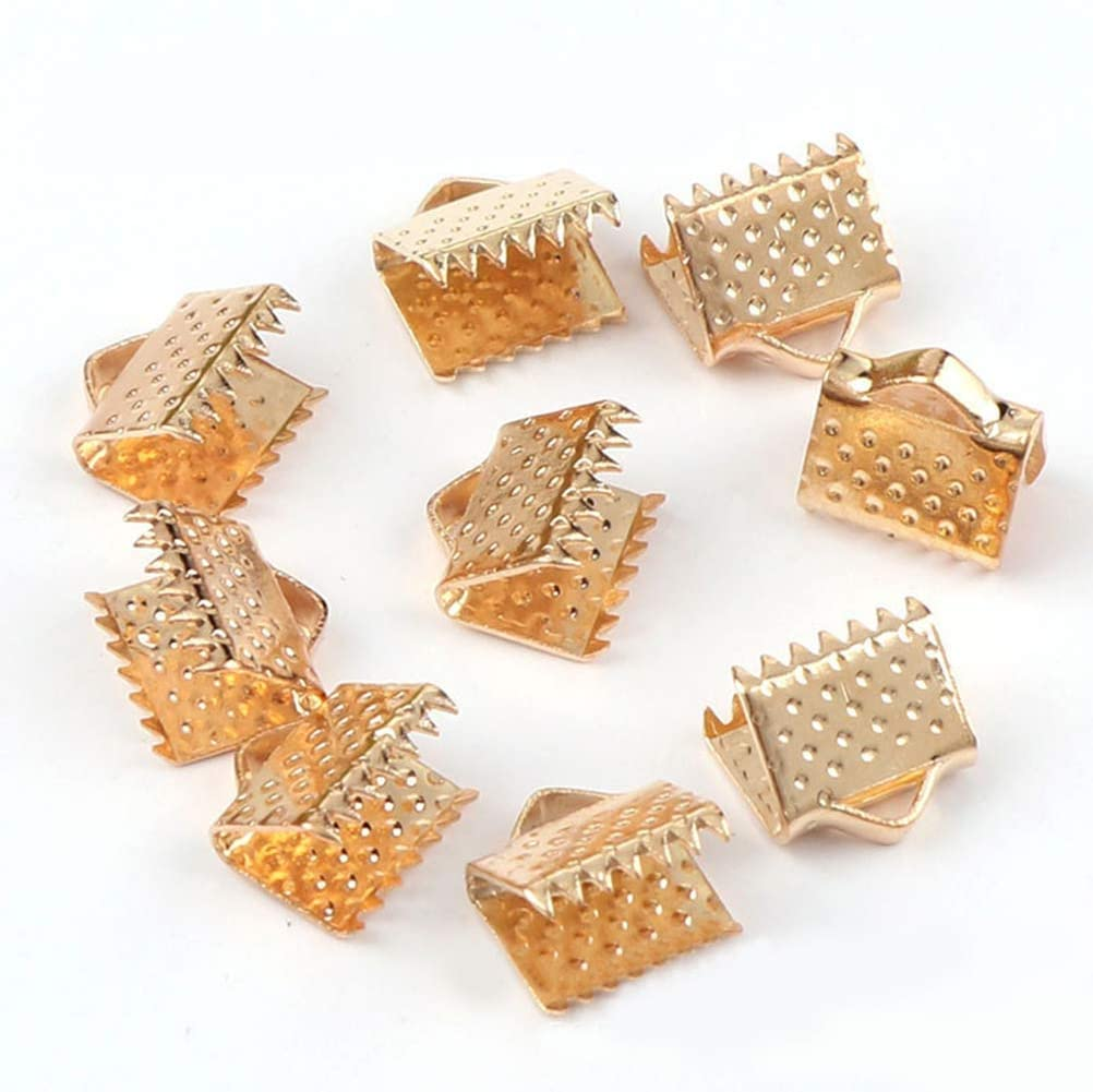 750PCS 6mm Plated Ribbon Ends Fastener Clasps Bookmark Pinch Textured Crimp end Clamps Cord Ends DIY Jewelry Accessories