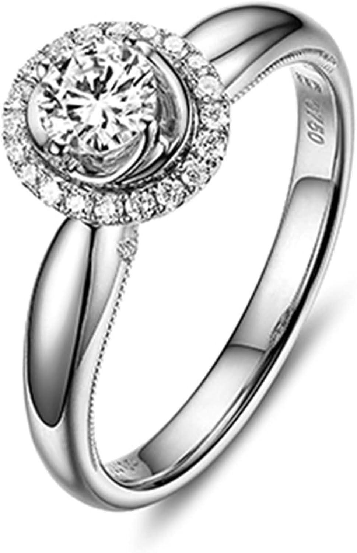 Daesar Anillo Personalizado 18K Oro Kilates Anillo Diamante Solitario Anillo Mujer Anillo 0.3ct Quilate Anillo de Diamantes Solitario Anillo Quilate Anillo Plata Talla 15