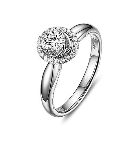 e9a4818ee099 Daesar Anillo Personalizado 18K Oro Kilates Anillo Diamante Solitario Anillo  Mujer Anillo 0.5ct Quilate Anillo de Diamantes Solitario Anillo Quilate  Anillo ...