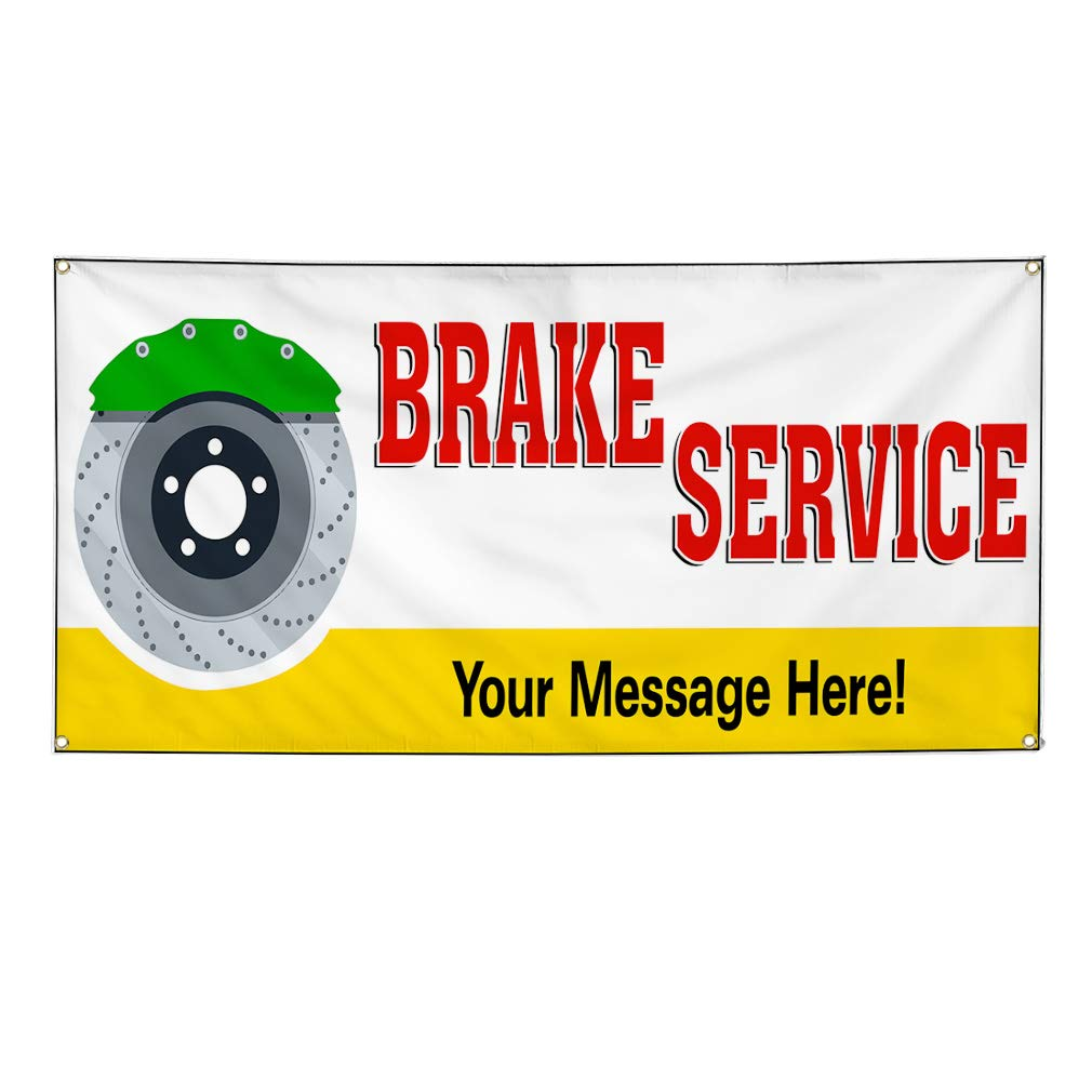 Custom Industrial Vinyl Banner Multiple Sizes Brake Service Style A Personalized Text Here Automotive Outdoor Weatherproof Yard Signs Red 10 Grommets 60x120Inches