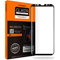 Spigen® Protecteur d'écran Samsung Galaxy S8 [Full Cover BLACK] Verre Trempé Samsung Galaxy S8, **Easy-Install Kit** [Anti-Trace de Doigts] *Ultra Clair* Protection écran Galaxy S8, Film Protection Galaxy S8 (565GL21779)
