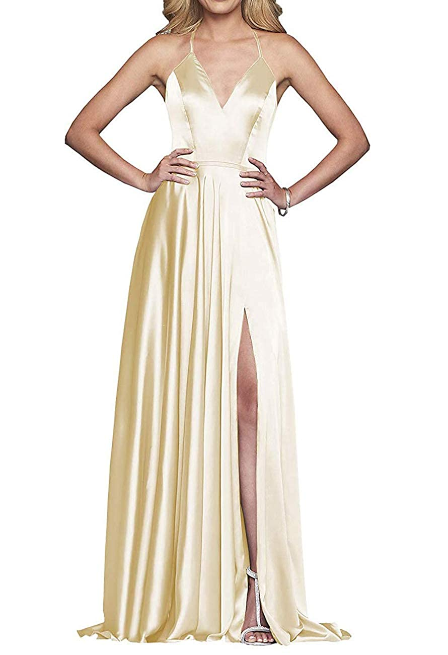 Champagne VNeck Satin Prom Dresses Long Formal Evening Party Gown Split Spaghetti Strap