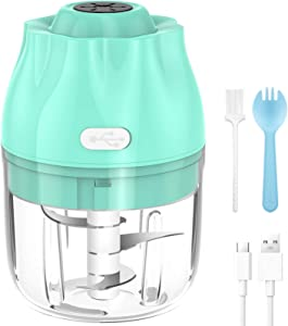 VASG Electric Mini Food Chopper, Small Food Processor Garlic Chopper, Rechargeable & Portable Food Slicer Mincer Crusher for Garlic/Vegetables/Onions/Chili/Pepper/Ginger/Meat/Baby Food...