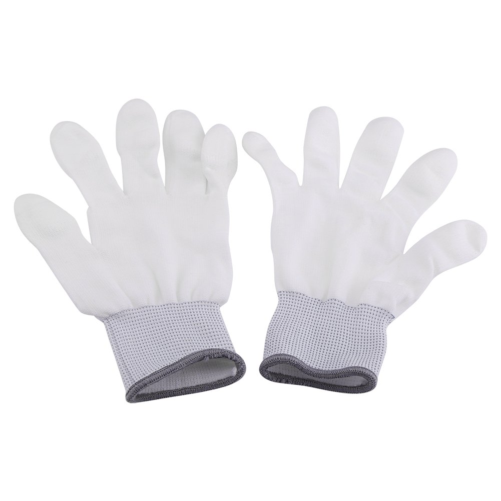 Anti Static Antiskid Glove PU Coated Finger Part for Electronic Labor Worker 1 Pair(Large-Gray Brim)