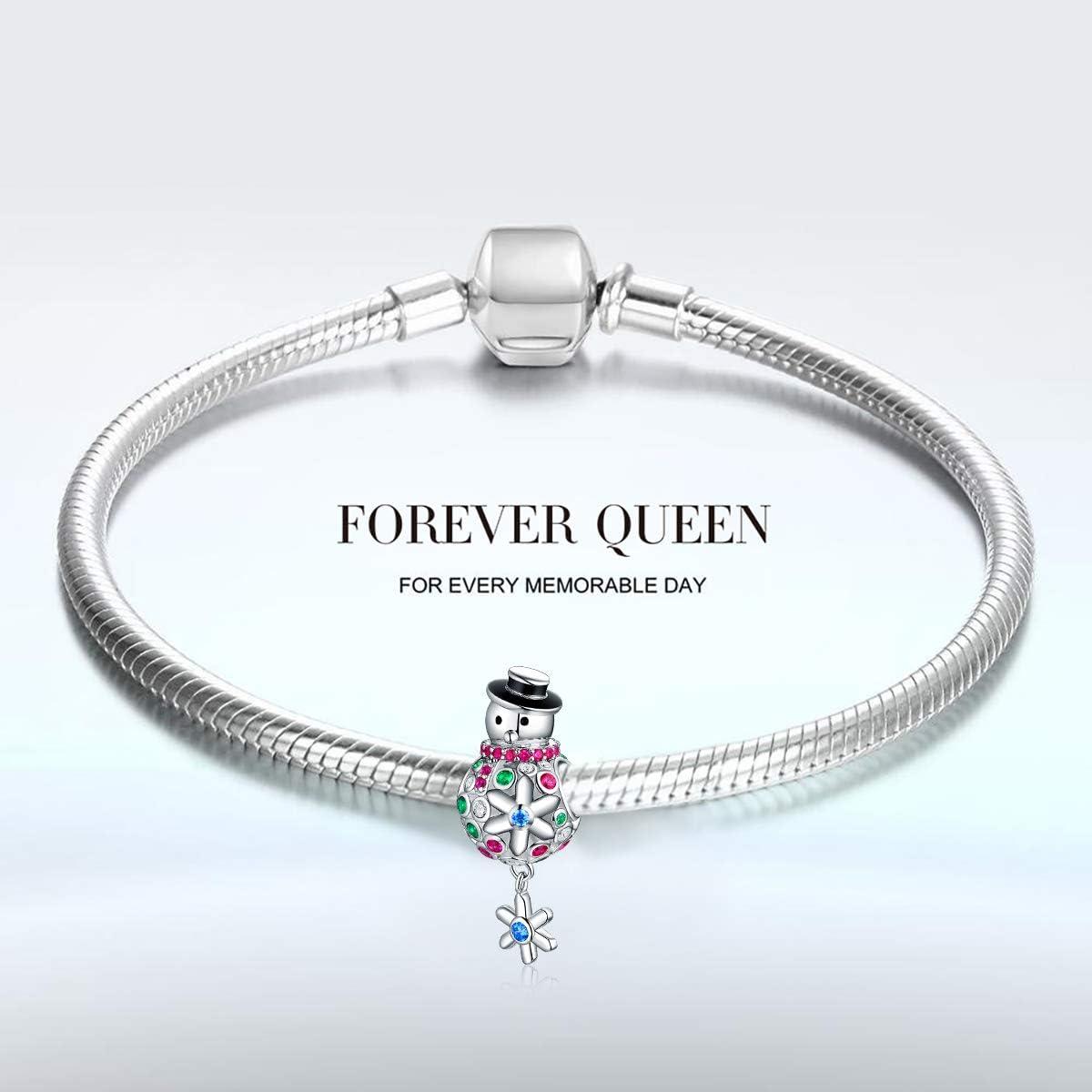 FOREVER QUEEN de No/ël Bonhomme de neige Charm pour bracelet Charm en argent sterling 925 Perles pour cha/îne serpent Pendentif pour collier Fq0042
