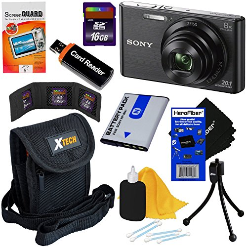 Sony Cyber-shot DSC-W830 20.1 MP Digital Camera with 8x Zoom & Full HD 720p Video (Black) – International Version + NP-BN1 Battery + 8pc 16GB Accessory Kit w/ HeroFiber® Ultra Gentle Cleaning Cloth
