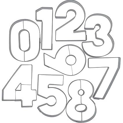 Städter 113299 - Moldes para galletas en forma de números (acero inoxidable, 9 unidades