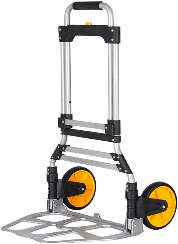 SCJ Carretilla de Mano Plegable/Carretilla Industrial para Sacos con Capacidad de Carga de 75 kg, Marco de Aluminio Resistente para Viajes en Interiores y Exteriores Compras-A