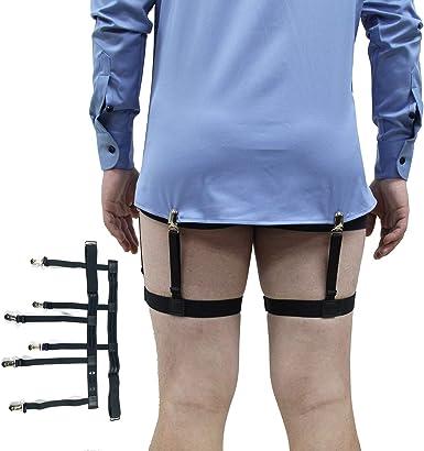 Pair Men/'s Military Shirt Stays Holders Elastic Nylon Garter Belt Suspender New