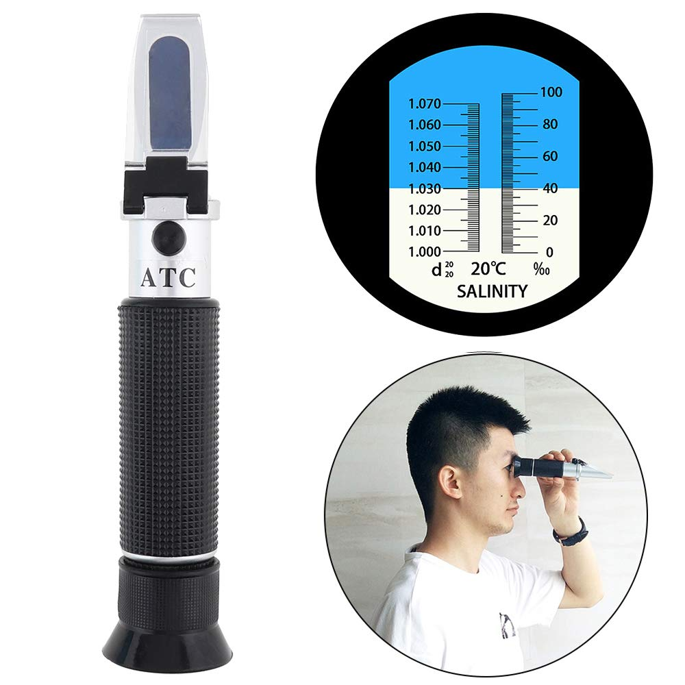 ChgImposs 2 in 1 Salinity Refractometer Aquarium & Seawater - Dual Scale with Pipet and Mini Screw Driver Support Manual Focusing