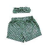 Coralup 2pcs Set Baby Girls Mermaid Shorts Leggings & Headband(Green,0-12M)