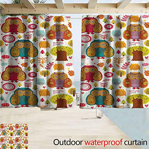 (Doorway Curtain Fall Colorful Owl Woodland Animals Room Darkening, Noise Reducing W63x45L Inches)