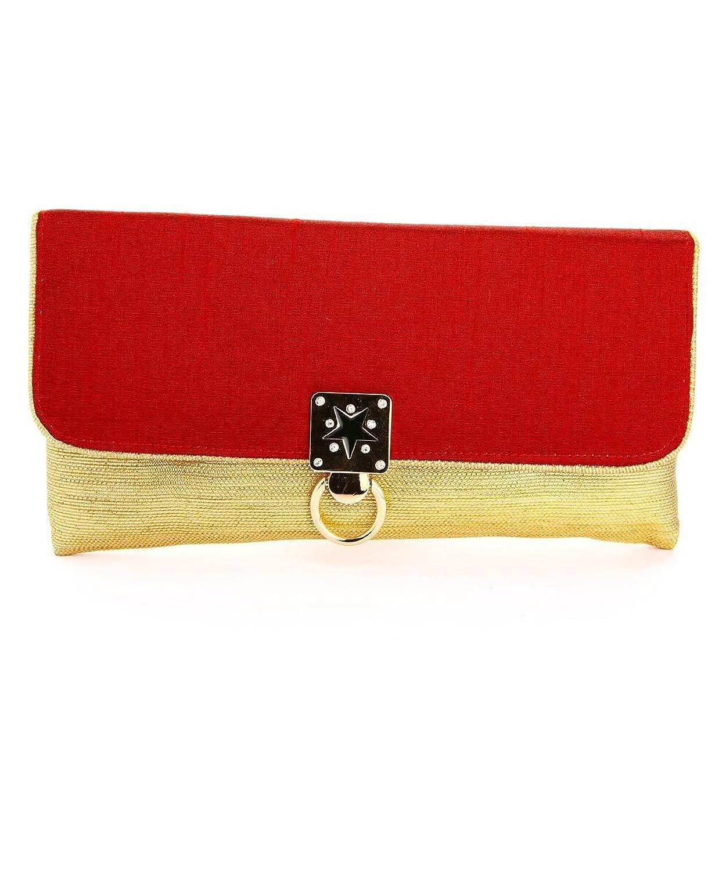 LadyBugBag Red and Gold Satin Designer Clutch - LBB10190