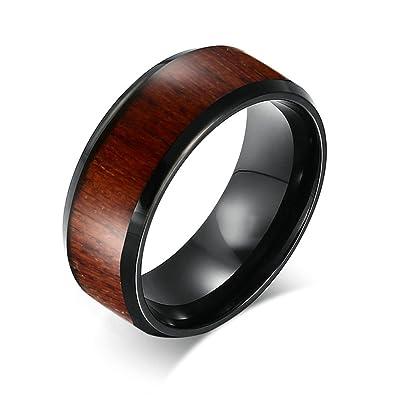 KnSam Men Tungsten Steel Wedding Bands 8MM Brown Wood Comfort Fit Black Size 7 Novelty
