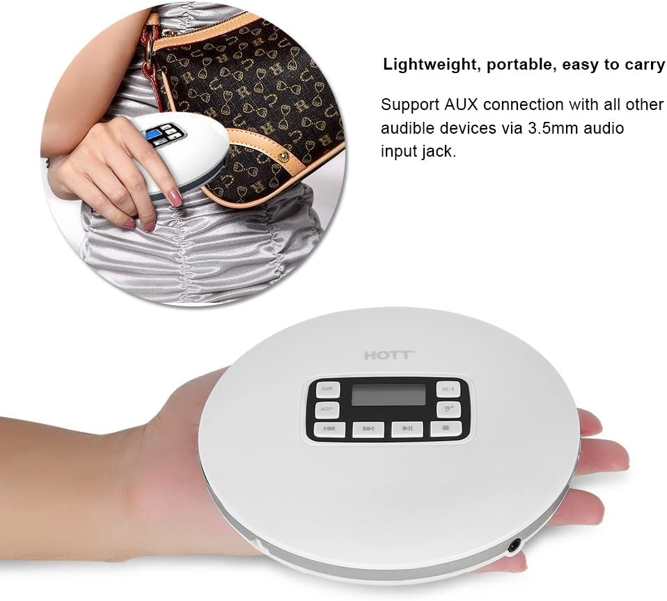 Support Format of CD Portable HiFi Bluetooth CD Player 110-240V HOTT Compact Music Small CD Player for Kids/&Adults with Earphone WMA MP3 CD-RW CD-DA