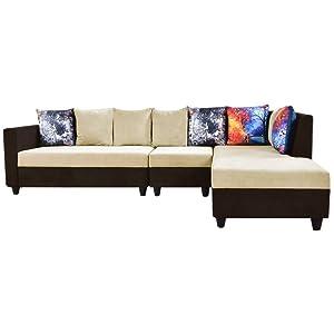 Furny Cassidy FabFurny021 Six Seater L Shape Sofa (Brown)