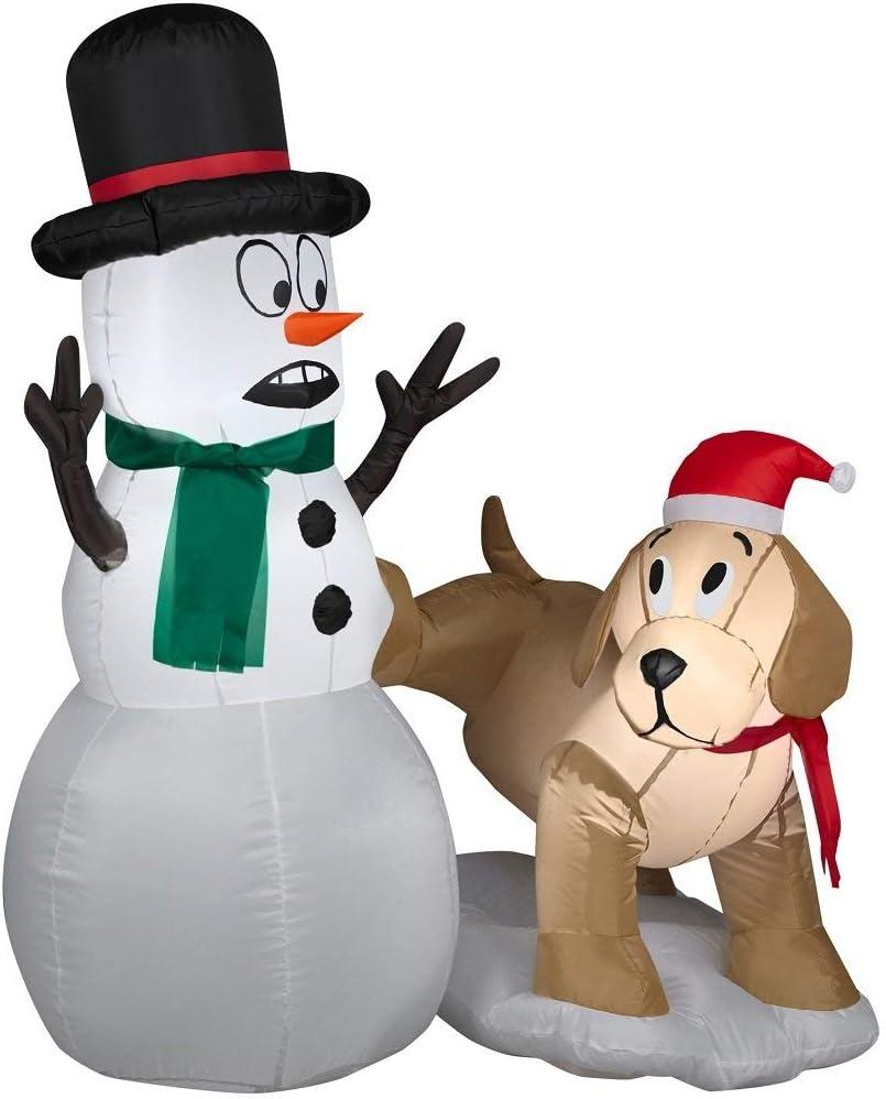 Amazon.com: Gemmy - Muñeco de nieve y perro inflable de ...