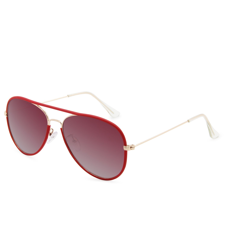 AMZTM Classic Retro Polarized Aviator Driving Sunglasses For Women Metal Frame Ultra-fine Glasses Legs (Red, 58)