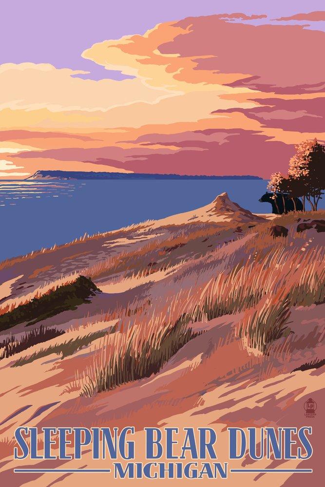 Sleeping Bear Dunes, Michigan - Dunes Sunset and Bear (16x24 Giclee Gallery Print, Wall Decor Travel Poster)