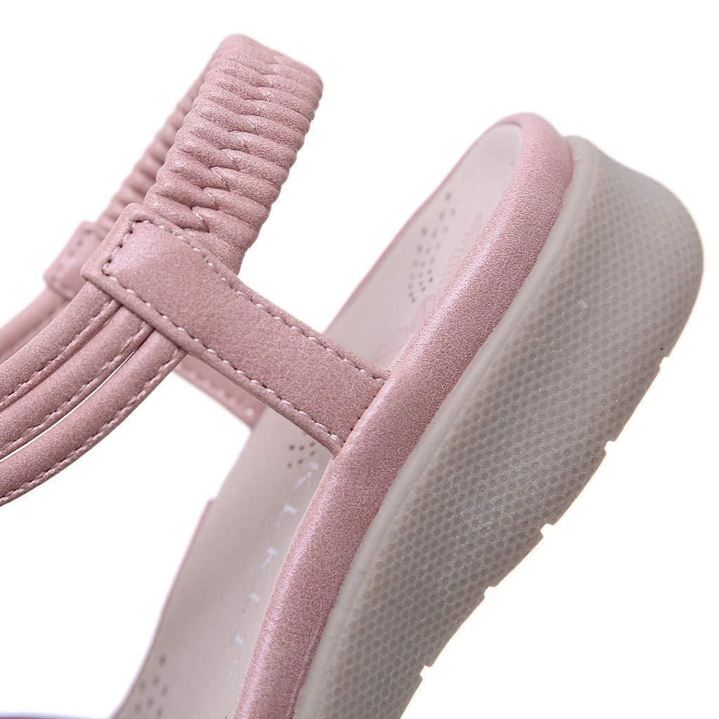 Moonker Girls Kids Bohemian Beach Flat Sandals 5-9 Years Old Child Summer Flower Soft Soled Non-Slip Princess Sandals