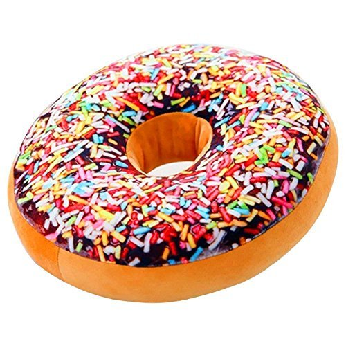J-DEAL® Round Doughnut Donut Seat Back Stuffed Cushion Insert Filler Filling Throw Pillow Plush Play Toy Doll For Sleeping Office Afternoon Nap Doze Fruit Cake 16 X 16'' (Rainbow Icing Sugar)
