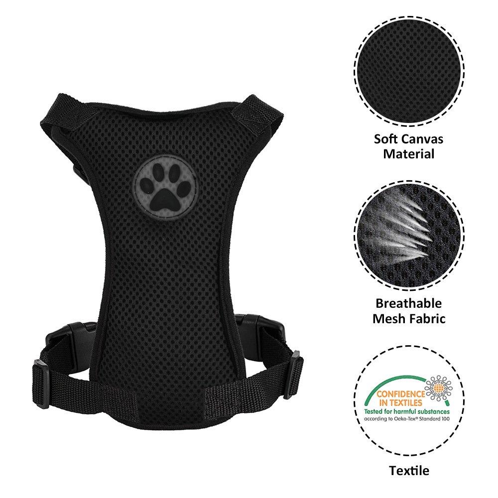 SlowTon Hundegeschirr mit Sicherheitsgurt Double luftdurchl/ässiges Latex-Gittergewebe Geschirr regul/äre Reisenweste Autosicherheitsgurt f/ür alle allt/äglichen und sportlichen Aktivit/äten dem Vierbeiner