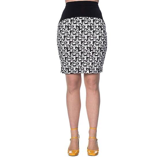 Banned Mini Falda Estampada de Tubo Tipo Años 60 - Blanco/Negro XL ...